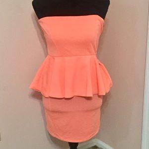 Zara Peach Strapless Dress